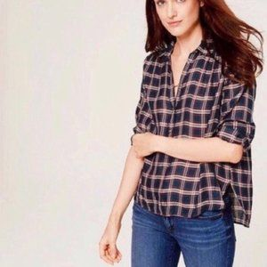 "Ann Taylor LOFT Navy Plaid ""The Softened Shirt"""
